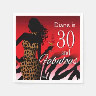 Bombshell Leopard 30th Birthday | red Paper Napkin