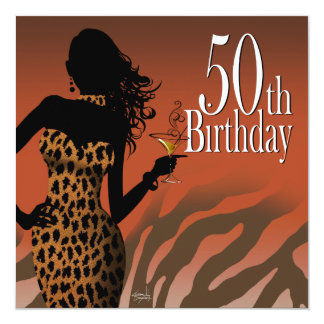 Bombshell Leopard 50th Birthday Party Russet Card