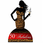 Bombshell Leopard Birthday Cake Topper red Standing Photo Sculpture