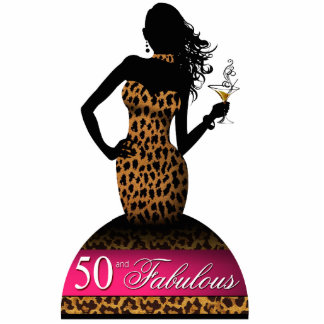 Bombshell Leopard Birthday Table Topper fuschia Cutout