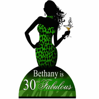 Bombshell Leopard Birthday Table Topper green Statuette