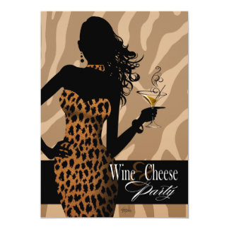 Bombshell Leopard Wine & Cheese Party Tan Card