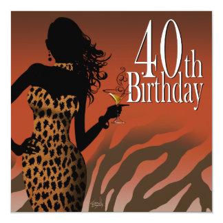 Bombshell Leopard Zebra 40th Birthday Party Card