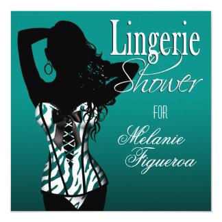 Bombshell Lingerie Zebra Corset Bridal Shower Card
