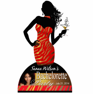 Bombshell Red Gold Zebra Bachelorette Centerpiece Cutout