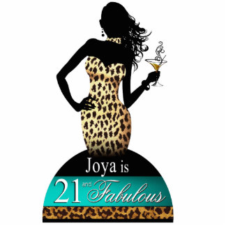 Bombshell Snow Leopard Table Topper teal Statuette