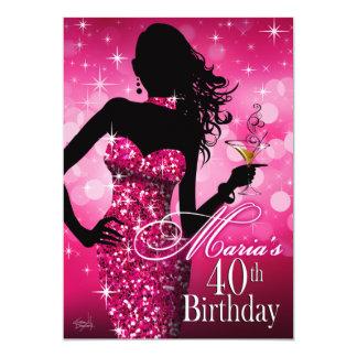 Bombshell Sparkle 40th Birthday | fuschia Dec 13th Invitation