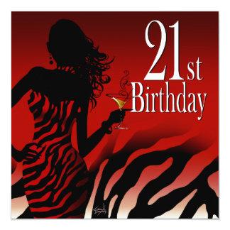 Bombshell Zebra 21st Birthday Party Dress Safari Card