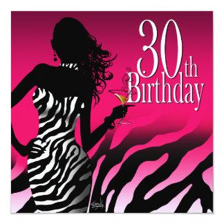 Bombshell Zebra 30th Birthday Party Fuschia Card