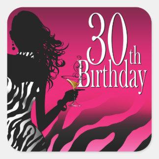 Bombshell Zebra 30th Birthday Party Fuschia Square Sticker