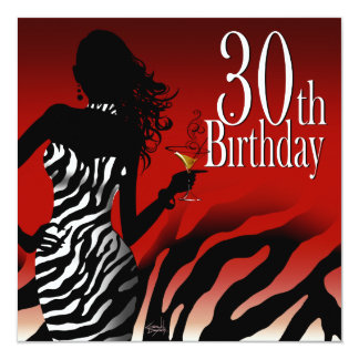 Bombshell Zebra 30th Birthday Party Red Card
