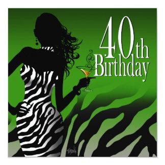 Bombshell Zebra 40th Birthday Party Bottle Green Card