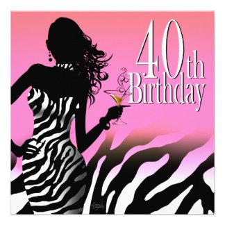 Bombshell Zebra 40th Birthday Party Dress Pink Personalized Invites