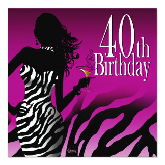 Bombshell Zebra 40th Birthday Party Purple Card