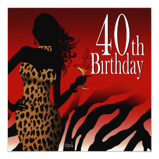 Bombshell Zebra 40th Birthday Party Red Card