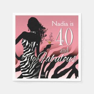 Bombshell Zebra 40th Birthday   pink Napkin