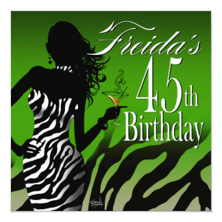 Bombshell Zebra 45th Birthday   green Personalized Invitation