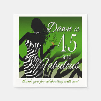 Bombshell Zebra 45th Birthday | green Paper Napkins