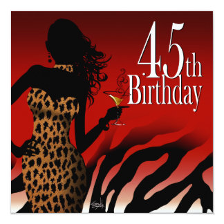 Bombshell Zebra 45th Surprise Birthday Party Red Personalized Invitation