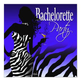 Bombshell Zebra Bachelorette Ladies Night cobalt Card