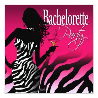 Bombshell Zebra Bachelorette Ladies Night fuschia Card