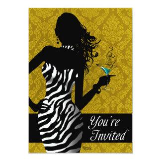 Bombshell Zebra Bachelorette Ladies Night Gold Card