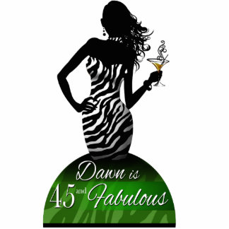 Bombshell Zebra Birthday Cake Topper green Cutout