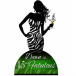 Bombshell Zebra Birthday Cake Topper green Photo Cut Out