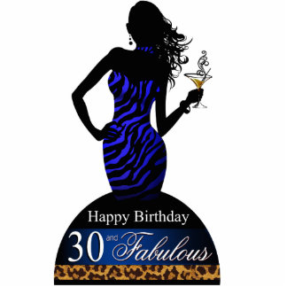 Bombshell Zebra Birthday Table Topper cobalt Cutout
