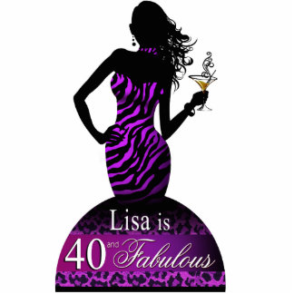Bombshell Zebra Birthday Table Topper purple Cutout
