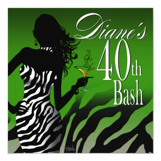 Bombshell Zebra Diane's 40th Birthday Green Card