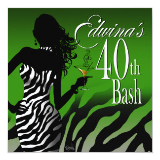 Bombshell Zebra Edwina's 40th Birthday Green Card