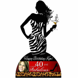Bombshell Zebra Leopard Birthday Table Centerpiece Cutout