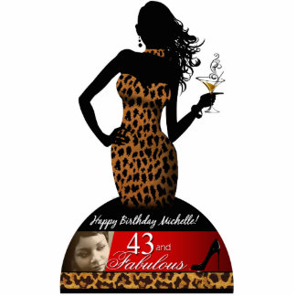 Bombshell Zebra Leopard Birthday Table Centerpiece Statuette