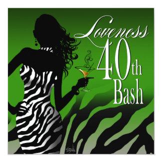 Bombshell Zebra Loveness 40th Birthday Green Card