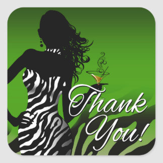Bombshell Zebra Party Thank You | Green 3 inch Square Sticker
