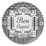 Bon Appetit Black and White French Damask Party Plates