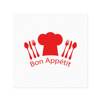 Bon Appetit Chef's Hat, Knife and Fork Canvas Print