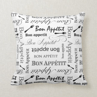 Bon Appetit Classic Black and White Pattern Throw Pillow