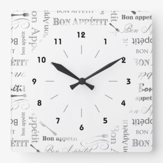 Bon Appetit Classic Vintage French Black and White Square Wall Clock
