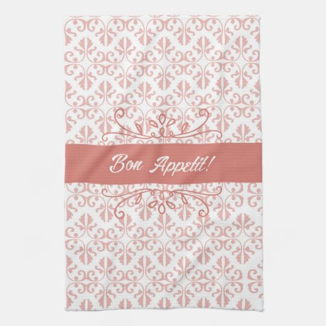 Bon Appetit Damask Salmon and White Tea Towel