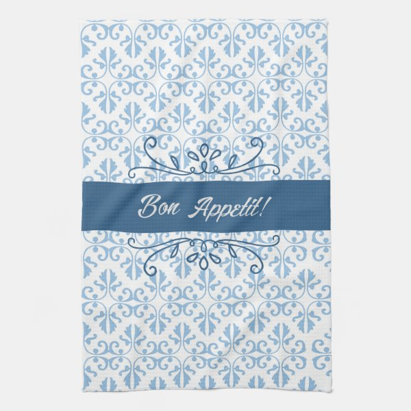 Bon Appetit damask two toned country blue tea Kitchen Towel