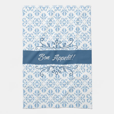 Bon Appetit damask two toned country blue tea Towel