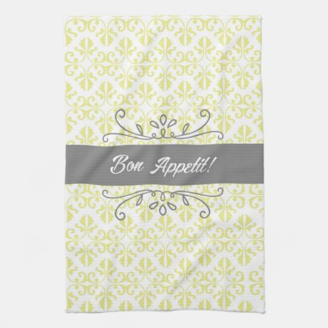 Bon Appetit Damask Yellow and Grey Tea Kitchen Towel
