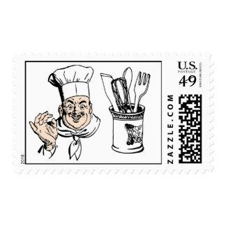 Bon Appetit del cocinero que cocina el cántaro Timbres Postales