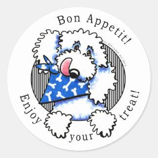 ¡Bon Appetit del perro! El mascota trata las Pegatina Redonda