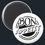 """Bon Appetit design Magnet<br><div class=""""desc"""">Bon Appetit design with creative letter arrangement,  round shape. Background color can be customized.</div>"""