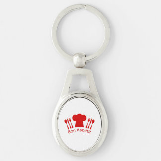 Bon Appetit Elegant Chef Hat Silver-Colored Oval Metal Keychain