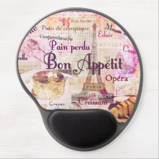 Bon Appetit French cuisine words and pictures Gel Mouse Pad
