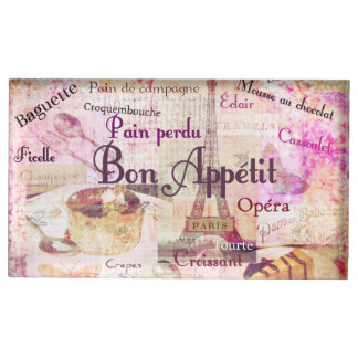 Bon Appetit French cuisine words and pictures Table Card Holder